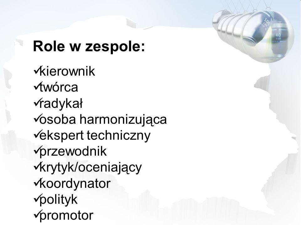 Role w zespole: kierownik twórca radykał osoba harmonizująca ekspert techniczny przewodnik krytyk/oceniający koordynator polityk promotor