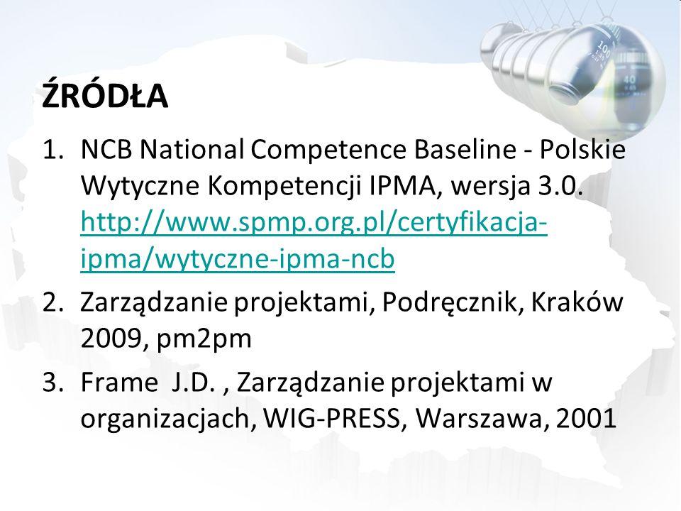 ŹRÓDŁA 1.NCB National Competence Baseline - Polskie Wytyczne Kompetencji IPMA, wersja 3.0. http://www.spmp.org.pl/certyfikacja- ipma/wytyczne-ipma-ncb