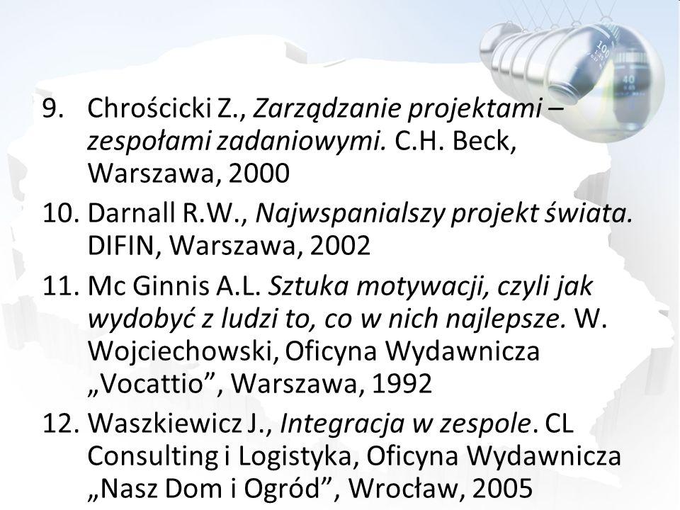 9.Chrościcki Z., Zarządzanie projektami – zespołami zadaniowymi. C.H. Beck, Warszawa, 2000 10.Darnall R.W., Najwspanialszy projekt świata. DIFIN, Wars