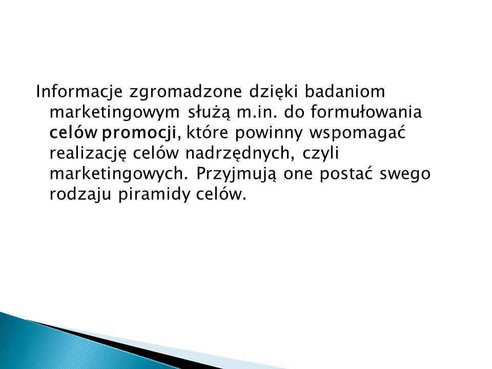 Informacje zgromadzone dzięki badaniom marketingowym służą m.in. do formułowania celów promocji, które powinny wspomagać realizację celów nadrzędnych,