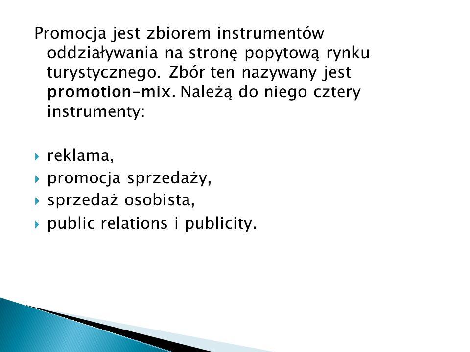 Promocja jest zbiorem instrumentów oddziaływania na stronę popytową rynku turystycznego. Zbór ten nazywany jest promotion-mix. Należą do niego cztery