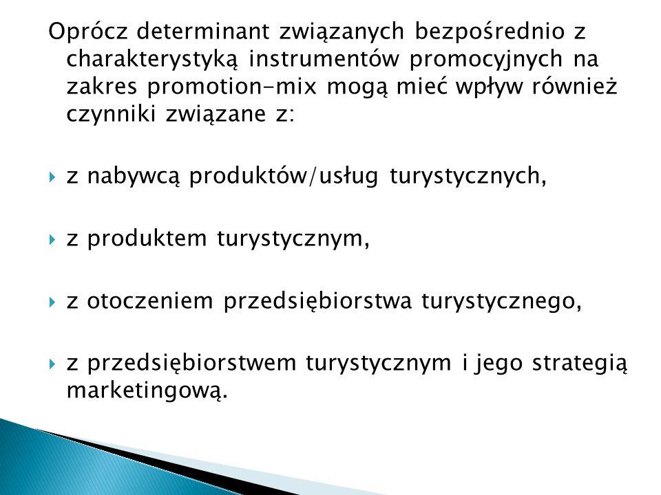 Oprócz determinant związanych bezpośrednio z charakterystyką instrumentów promocyjnych na zakres promotion-mix mogą mieć wpływ również czynniki związa