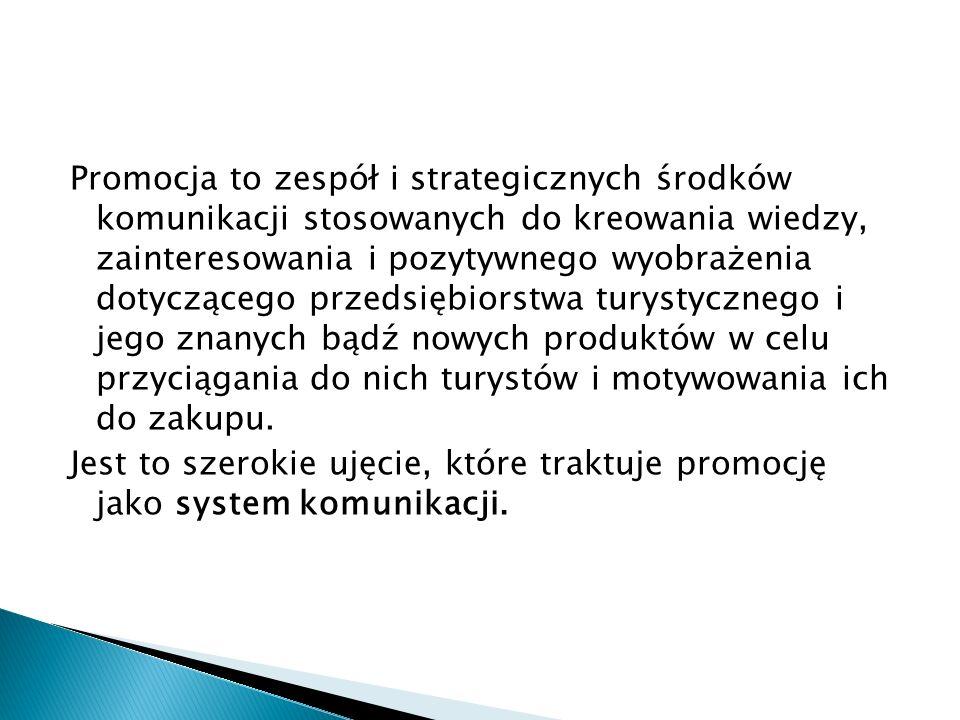 Promocja to zespół i strategicznych środków komunikacji stosowanych do kreowania wiedzy, zainteresowania i pozytywnego wyobrażenia dotyczącego przedsi