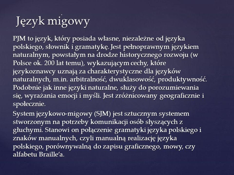 PJM to język, który posiada własne, niezależne od języka polskiego, słownik i gramatykę. Jest pełnoprawnym językiem naturalnym, powstałym na drodze hi