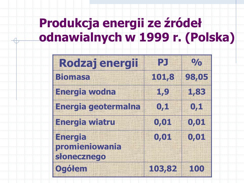 Wzrost produkcji energii w poszczególnych sektorach w latach 1990-2000.