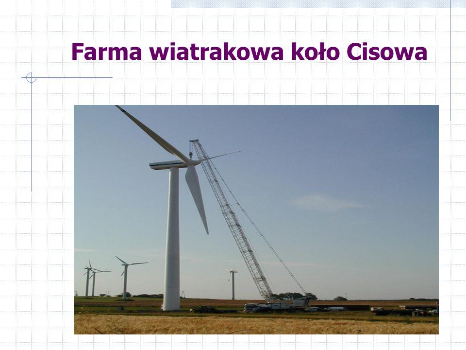 Rozmieszczenie elektrowni wiatrowych na terenie Polski do sierpnia 2001 roku