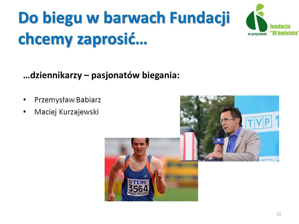 Do biegu w barwach Fundacji chcemy zaprosić… …dziennikarzy – pasjonatów biegania: Przemysław Babiarz Maciej Kurzajewski 12