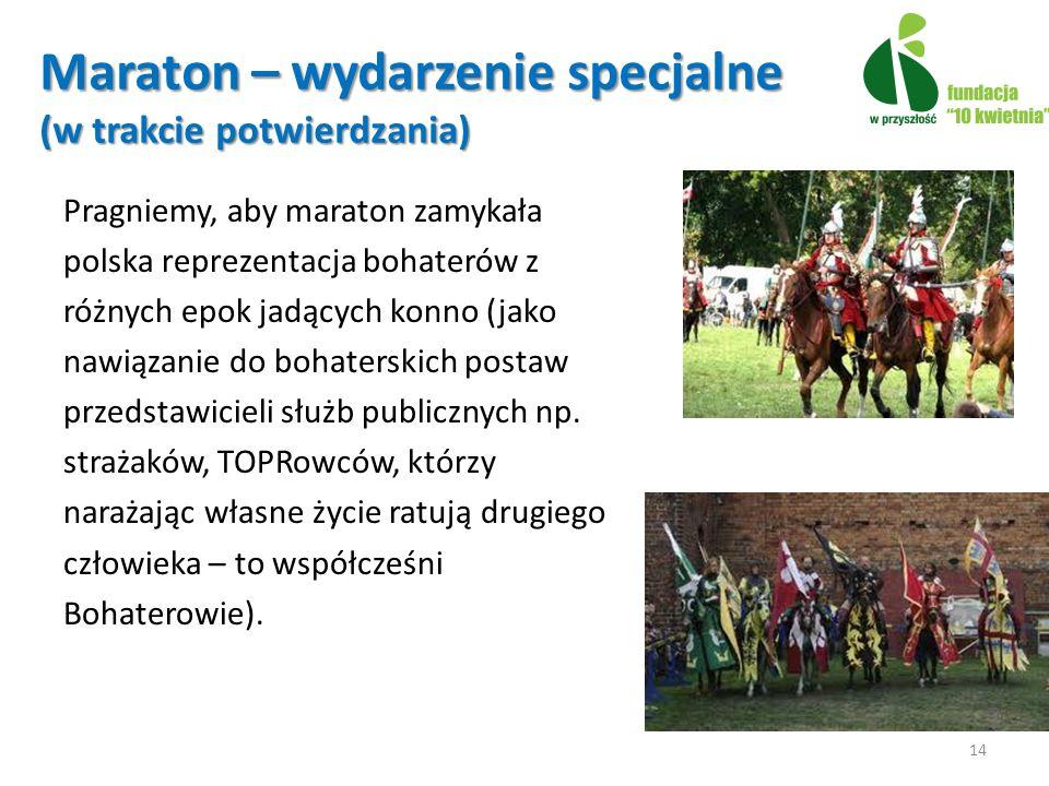 Maraton – wydarzenie specjalne (w trakcie potwierdzania) Pragniemy, aby maraton zamykała polska reprezentacja bohaterów z różnych epok jadących konno (jako nawiązanie do bohaterskich postaw przedstawicieli służb publicznych np.