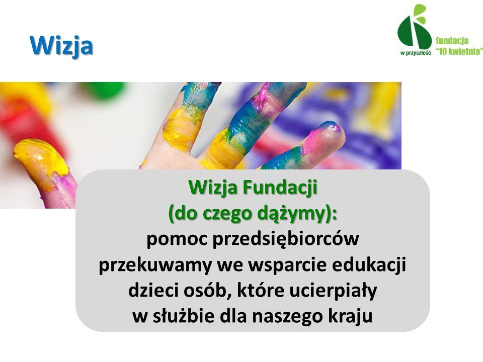 Wizja Fundacji (do czego dążymy): pomoc przedsiębiorców przekuwamy we wsparcie edukacji dzieci osób, które ucierpiały w służbie dla naszego kraju 24 Wizja