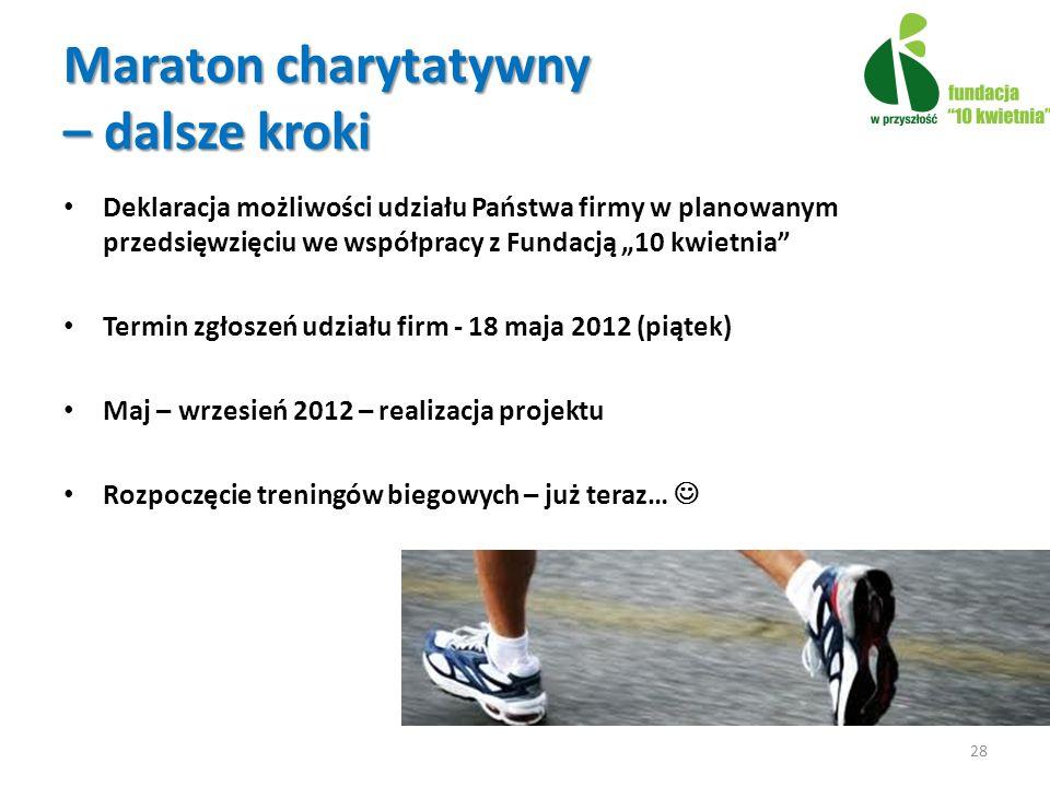 Deklaracja możliwości udziału Państwa firmy w planowanym przedsięwzięciu we współpracy z Fundacją 10 kwietnia Termin zgłoszeń udziału firm - 18 maja 2012 (piątek) Maj – wrzesień 2012 – realizacja projektu Rozpoczęcie treningów biegowych – już teraz… 28 Maraton charytatywny – dalsze kroki