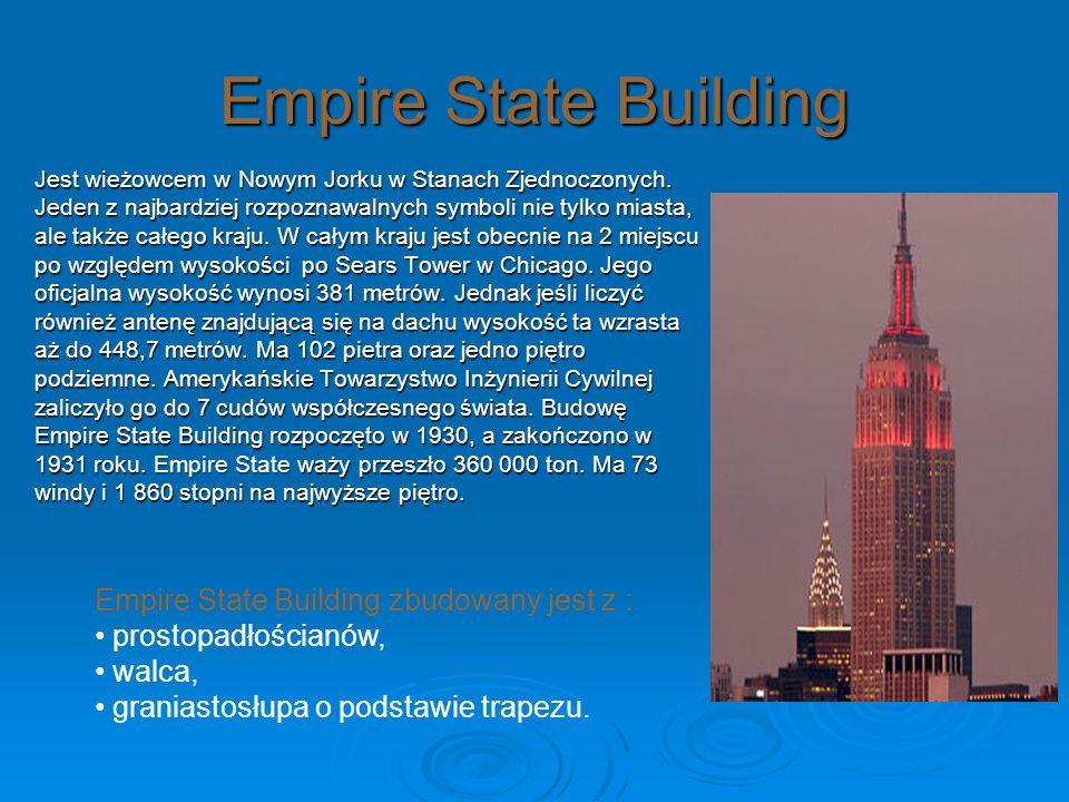 Empire State Building Jest wieżowcem w Nowym Jorku w Stanach Zjednoczonych. Jeden z najbardziej rozpoznawalnych symboli nie tylko miasta, ale także ca