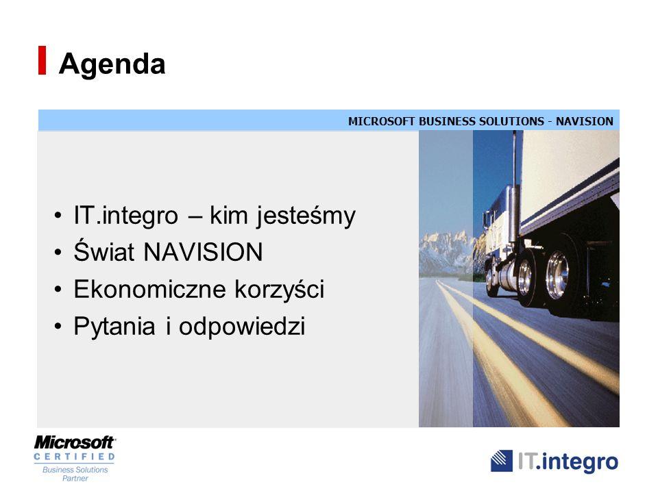Agenda IT.integro – kim jesteśmy Świat NAVISION Ekonomiczne korzyści Pytania i odpowiedzi