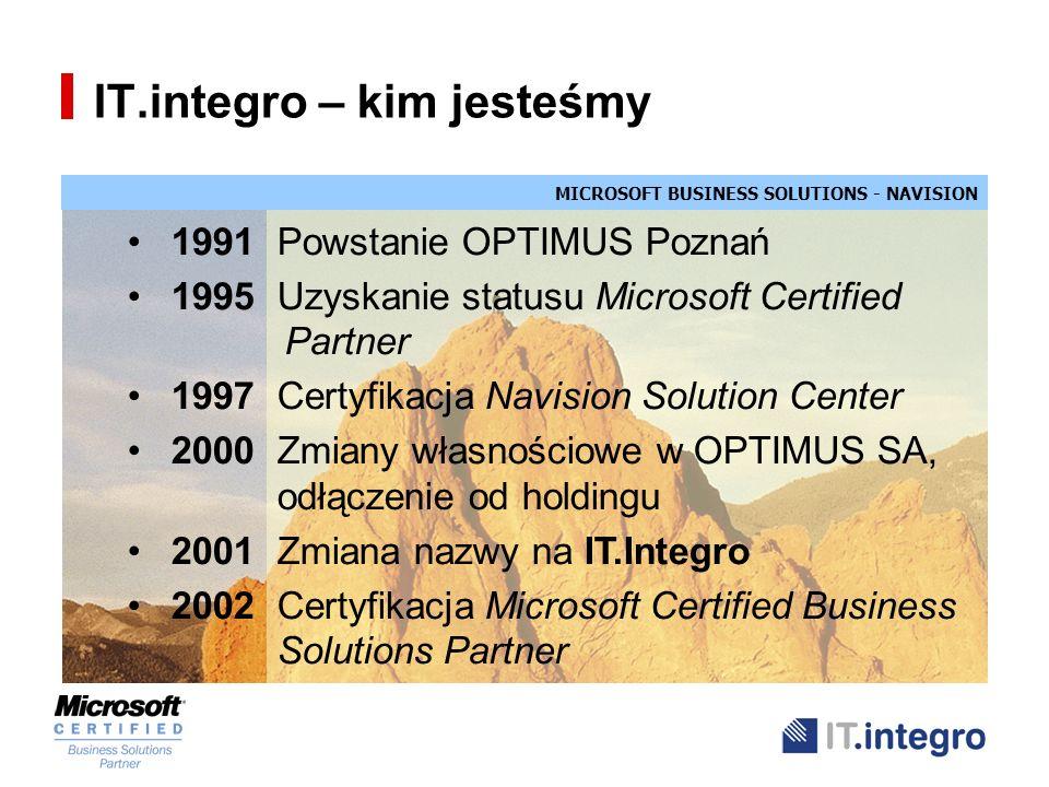 MICROSOFT BUSINESS SOLUTIONS - NAVISION IT.integro – kim jesteśmy Nasze osiągnięcia Pierwsze NSC w Polsce Lokalizacja NAVISION Największa liczba instalacji NAVISION (70) Stabilny zespół (20) Duże doświadczenie w projektach międzynarodowych Własne moduły dodane (Kadry i Płace, Systemy Bankowe)