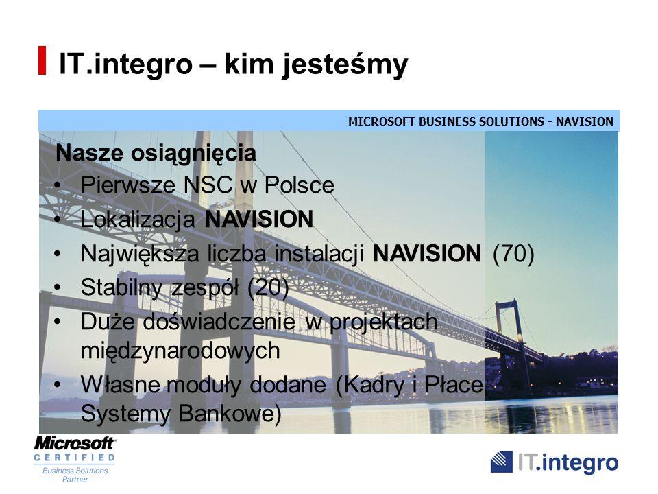 MICROSOFT BUSINESS SOLUTIONS - NAVISION IT.integro – kim jesteśmy Nasze osiągnięcia Pierwsze NSC w Polsce Lokalizacja NAVISION Największa liczba insta