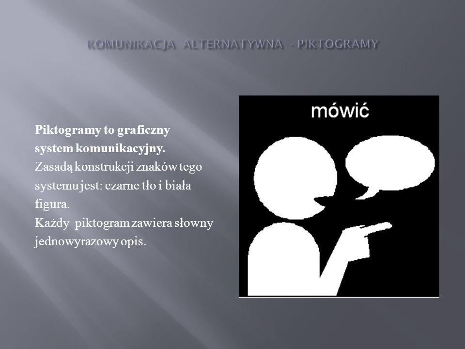 Piktogramy to graficzny system komunikacyjny. Zasadą konstrukcji znaków tego systemu jest: czarne tło i biała figura. Każdy piktogram zawiera słowny j