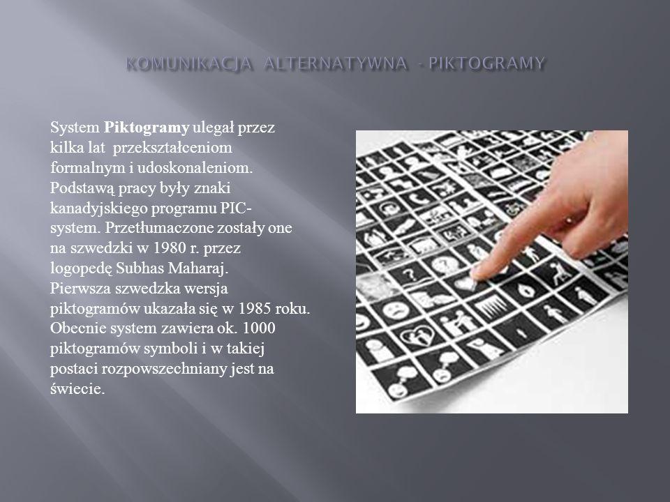 System Piktogramy ulegał przez kilka lat przekształceniom formalnym i udoskonaleniom. Podstawą pracy były znaki kanadyjskiego programu PIC- system. Pr