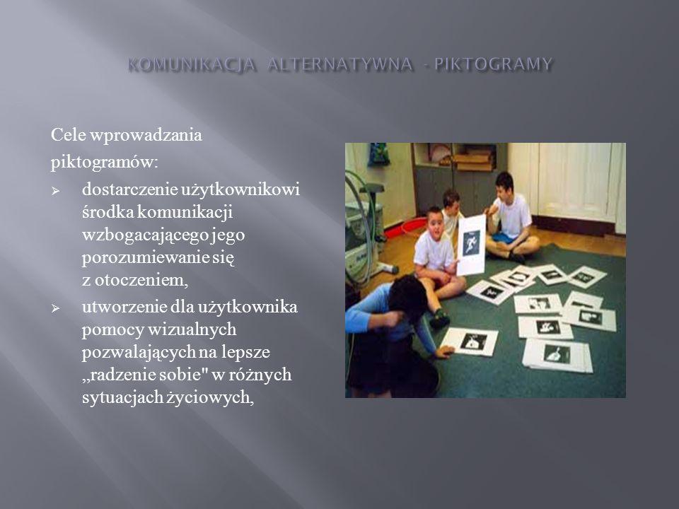 Cele wprowadzania piktogramów: dostarczenie użytkownikowi środka komunikacji wzbogacającego jego porozumiewanie się z otoczeniem, utworzenie dla użytk