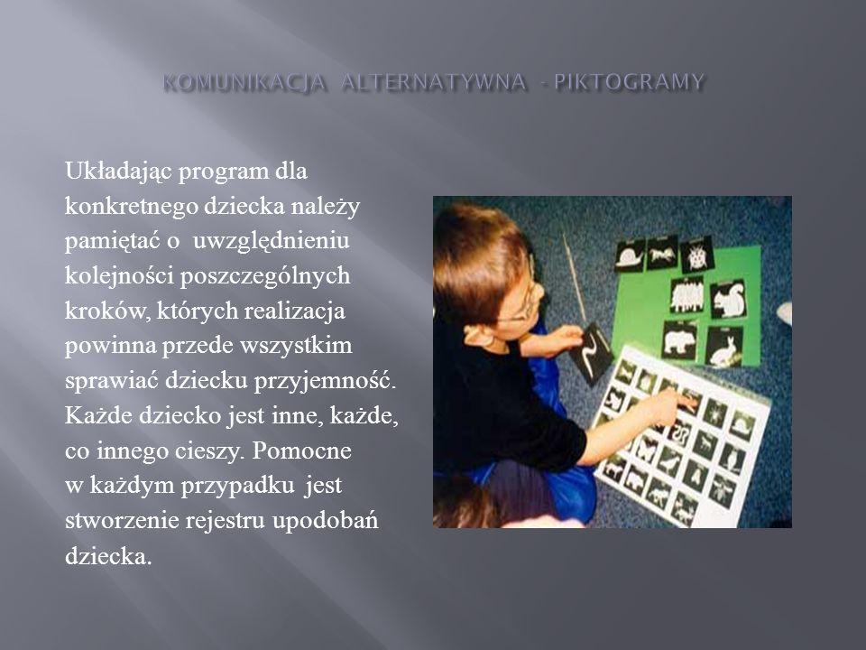 Kolejność wprowadzania piktogramów: wykorzystanie piktogramów do wyrażanie tak i nie , kształtowanie pojęcia,ja przy pomocy piktogramów, budowanie słownika dziecka poprzez wprowadzanie symboli rzeczy z najbliższego otoczenia, symboli nazw osób, symboli określających cechy przedmiotów, zjawisk, symboli, czynności, uczuć i stanów, wzbogacanie słownika o określenia czasu, przyimki, liczebniki, budowanie wyrażeń i zdań,