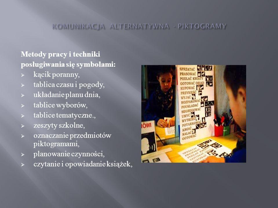 Przewidywane osiągnięcia: będzie potrafił wyrazić swoje potrzeby, uczucia za pomocą piktogramów, zrozumie znaczenie słów będących rzeczownikami, czasownikami, przymiotnikami, zaimkami, przyimkami, liczebnikami, sformułuje odpowiedzi za pomocą piktogramów na pytania osoby mówiącej, wypowie się na określony temat za pomocą piktogramów, nawiąże komunikację,