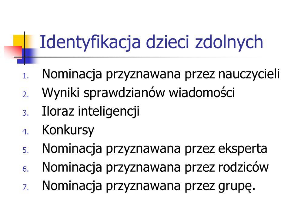 Identyfikacja dzieci zdolnych 1. Nominacja przyznawana przez nauczycieli 2. Wyniki sprawdzianów wiadomości 3. Iloraz inteligencji 4. Konkursy 5. Nomin