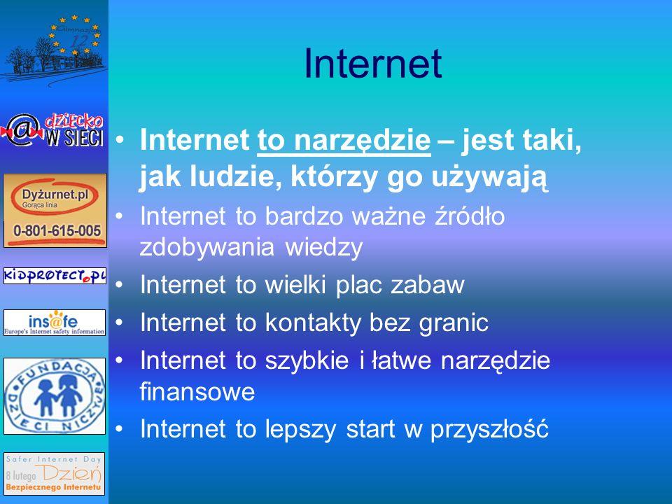 Internet Internet to narzędzie – jest taki, jak ludzie, którzy go używają Internet to bardzo ważne źródło zdobywania wiedzy Internet to wielki plac zabaw Internet to kontakty bez granic Internet to szybkie i łatwe narzędzie finansowe Internet to lepszy start w przyszłość