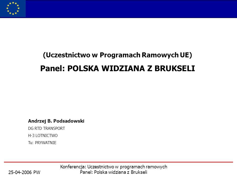 25-04-2006 PW Konferencja: Uczestnictwo w programach ramowych Panel: Polska widziana z Brukseli (Uczestnictwo w Programach Ramowych UE) Panel: POLSKA WIDZIANA Z BRUKSELI Andrzej B.