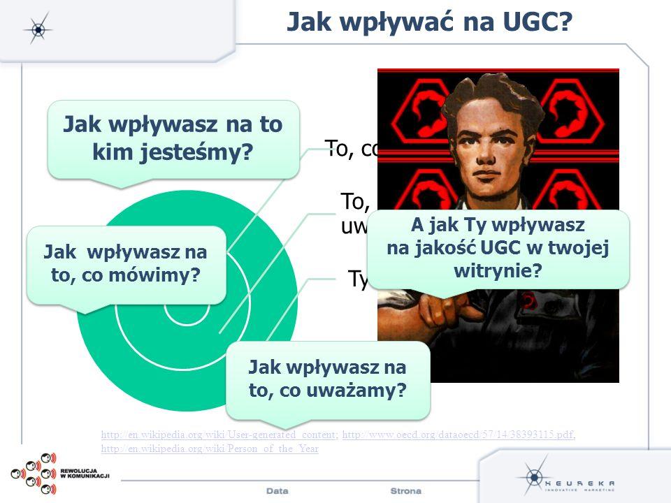 To, co mówisz To, co uważasz Ty Jak wpływać na UGC? http://en.wikipedia.org/wiki/User-generated_contenthttp://en.wikipedia.org/wiki/User-generated_con