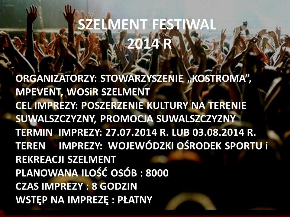 SZELMENT FESTIWAL 2014 R PODCZAS FESTIWALU ZAGRAJĄ : -ROBERT M -D.J.