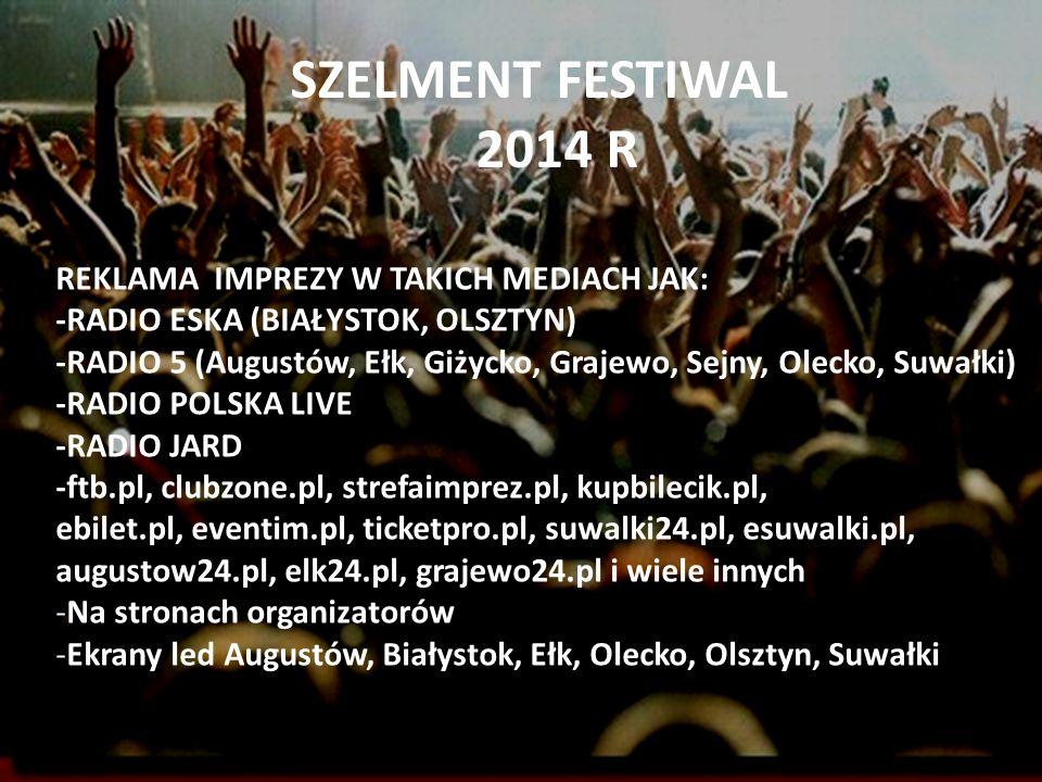 SZELMENT FESTIWAL 2014 R REKLAMA IMPREZY W TAKICH MEDIACH JAK: -RADIO ESKA (BIAŁYSTOK, OLSZTYN) -RADIO 5 (Augustów, Ełk, Giżycko, Grajewo, Sejny, Olec