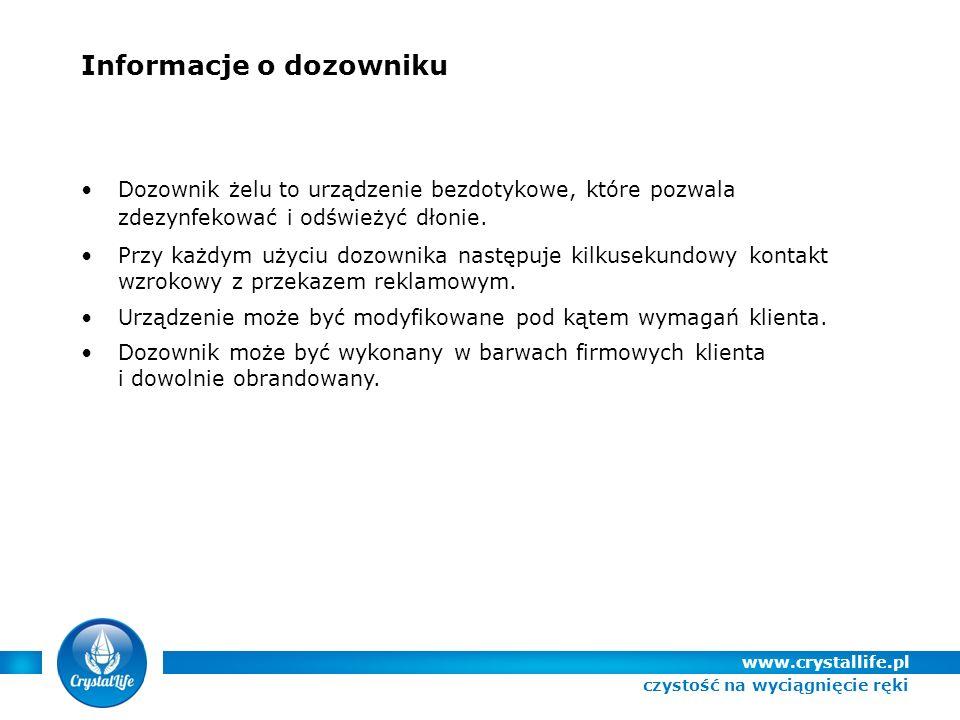 Informacje o dozowniku Dozownik żelu to urządzenie bezdotykowe, które pozwala zdezynfekować i odświeżyć dłonie.