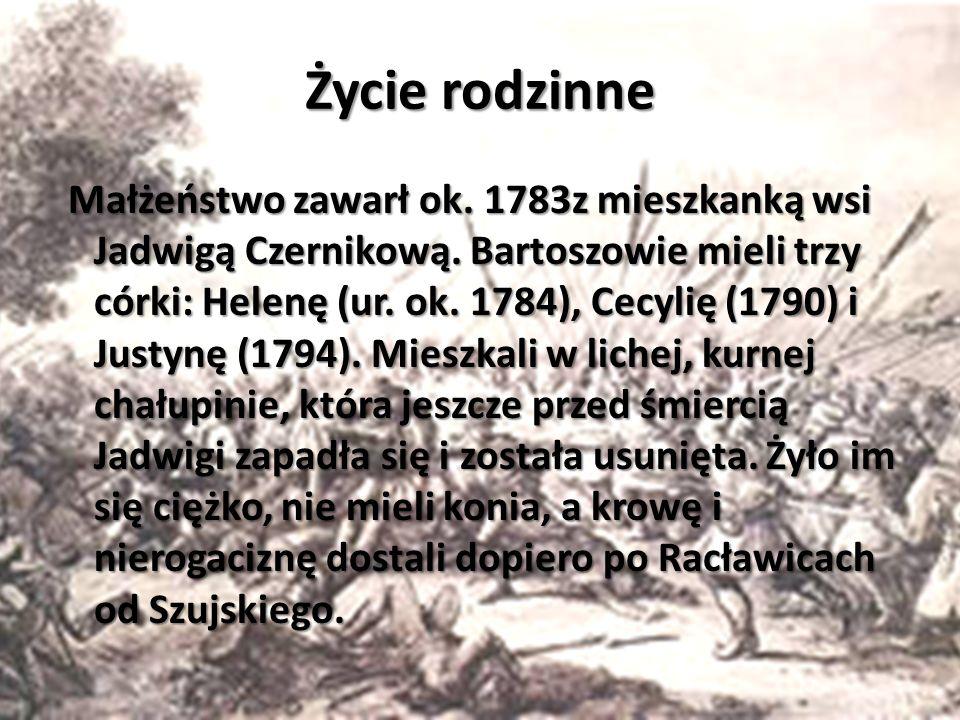 Krótka Historia Wziął udział w insurekcji kościuszkowskiej, w bitwie pod Racławicami 4 kwietnia 1794 r. odznaczył się wielkim męstwem (zdobył działo r