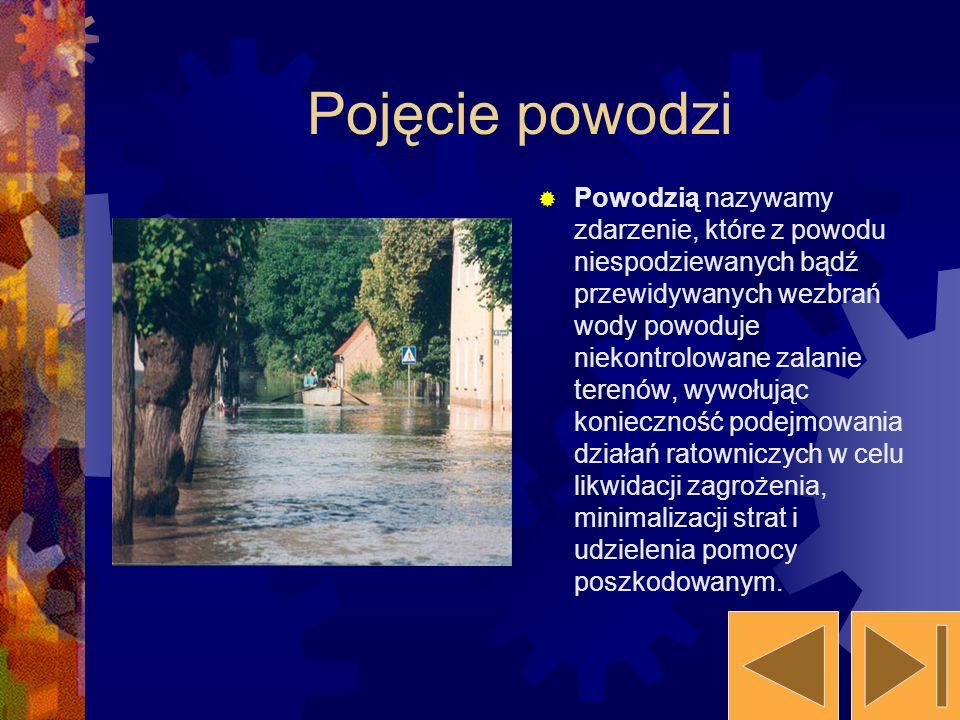 Pojęcie powodzi Powodzią nazywamy zdarzenie, które z powodu niespodziewanych bądź przewidywanych wezbrań wody powoduje niekontrolowane zalanie terenów