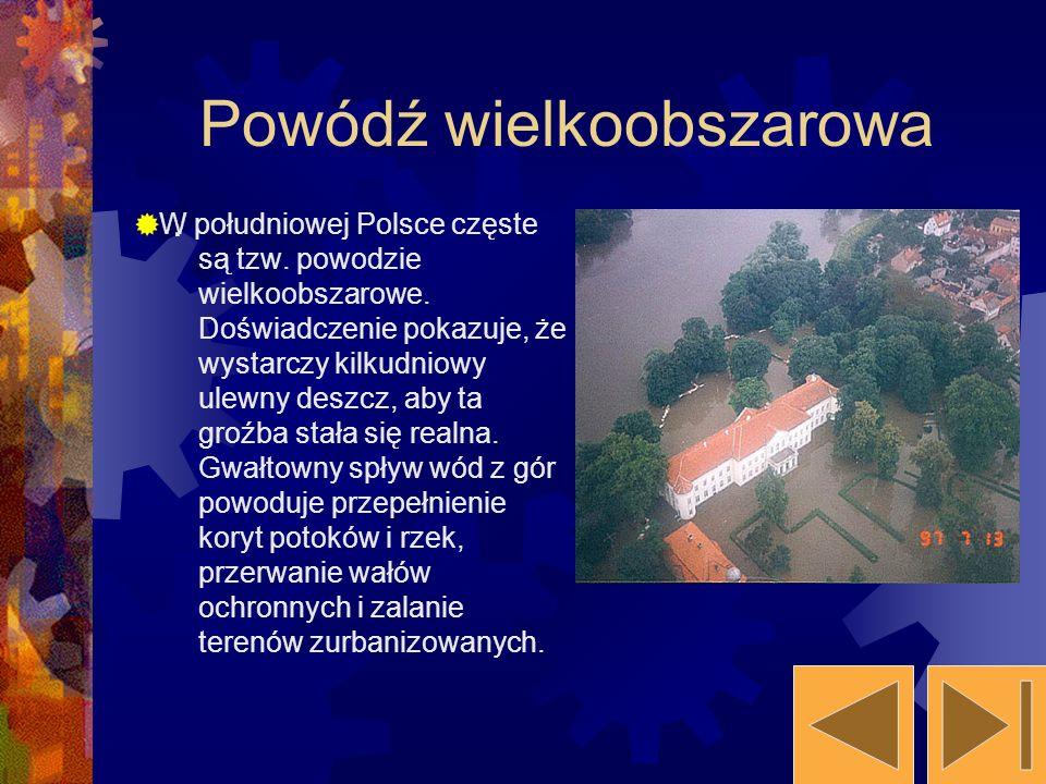 . W południowej Polsce częste są tzw. powodzie wielkoobszarowe. Doświadczenie pokazuje, że wystarczy kilkudniowy ulewny deszcz, aby ta groźba stała si