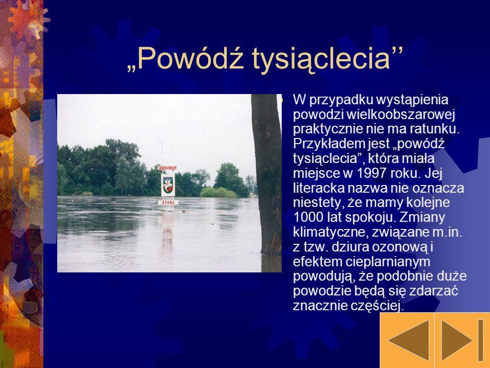 Powódź tysiąclecia W przypadku wystąpienia powodzi wielkoobszarowej praktycznie nie ma ratunku. Przykładem jest powódź tysiąclecia, która miała miejsc