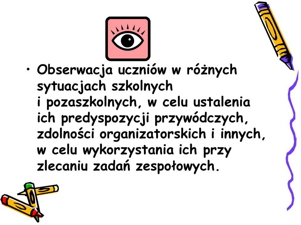 Obserwacja uczniów w różnych sytuacjach szkolnych i pozaszkolnych, w celu ustalenia ich predyspozycji przywódczych, zdolności organizatorskich i innyc