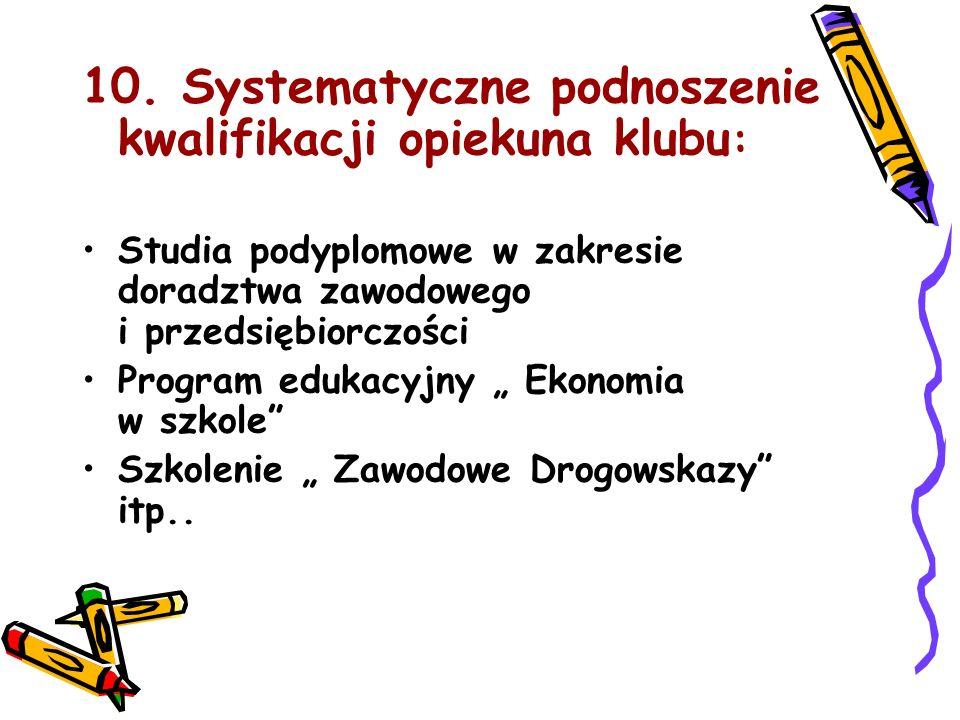 10. Systematyczne podnoszenie kwalifikacji opiekuna klubu : Studia podyplomowe w zakresie doradztwa zawodowego i przedsiębiorczości Program edukacyjny