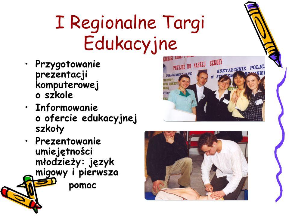 I Regionalne Targi Edukacyjne Przygotowanie prezentacji komputerowej o szkole Informowanie o ofercie edukacyjnej szkoły Prezentowanie umiejętności mło