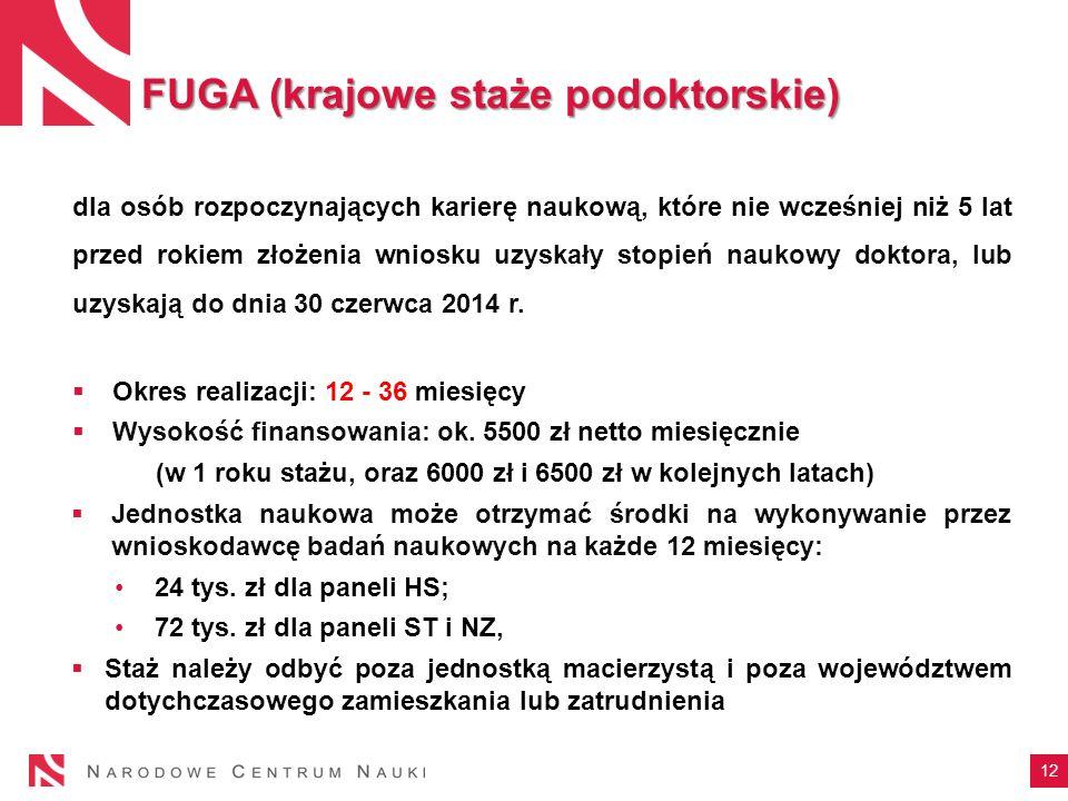 12 FUGA (krajowe staże podoktorskie) dla osób rozpoczynających karierę naukową, które nie wcześniej niż 5 lat przed rokiem złożenia wniosku uzyskały s