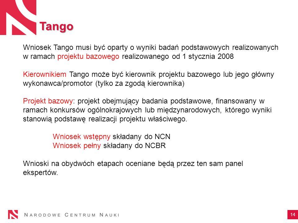 Tango 14 Wniosek Tango musi być oparty o wyniki badań podstawowych realizowanych w ramach projektu bazowego realizowanego od 1 stycznia 2008 Kierownik