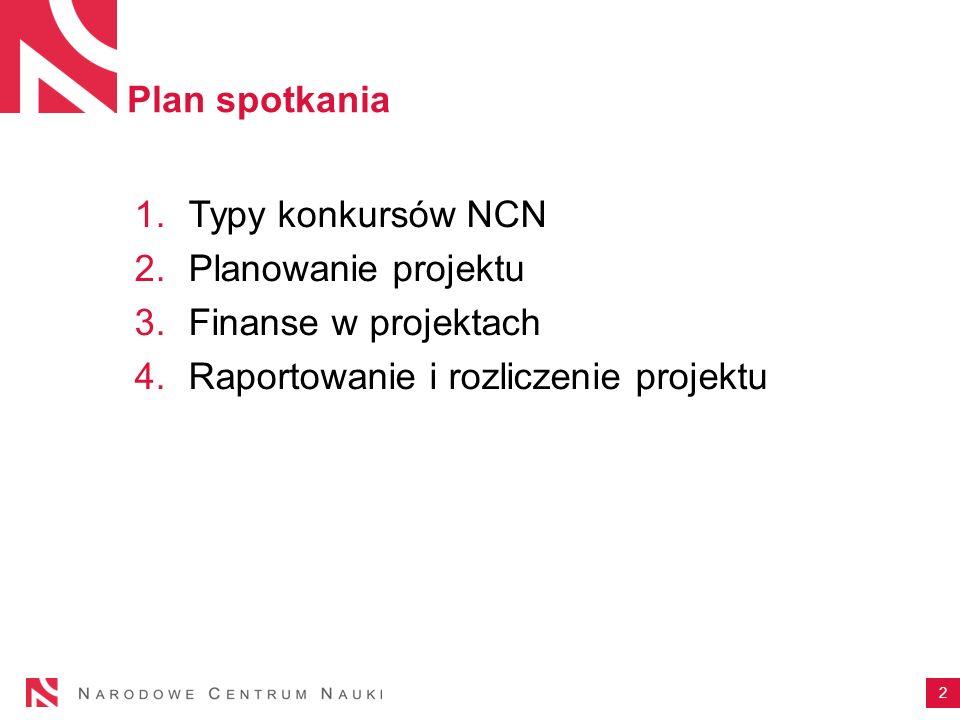 Plan spotkania 1.Typy konkursów NCN 2.Planowanie projektu 3.Finanse w projektach 4.Raportowanie i rozliczenie projektu 2
