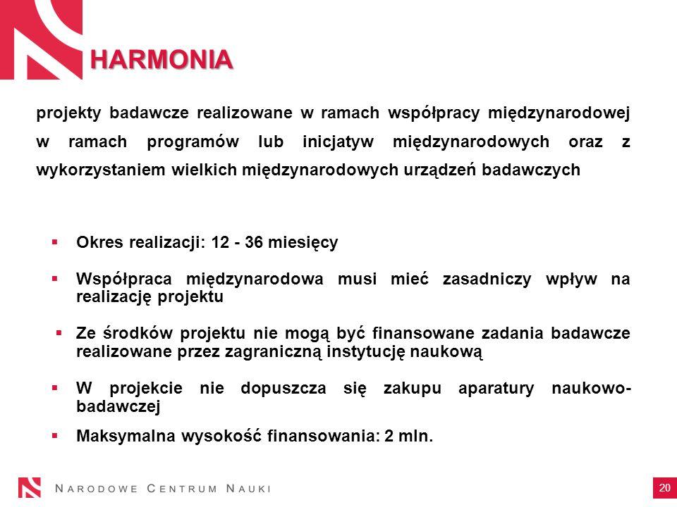 HARMONIA 20 projekty badawcze realizowane w ramach współpracy międzynarodowej w ramach programów lub inicjatyw międzynarodowych oraz z wykorzystaniem