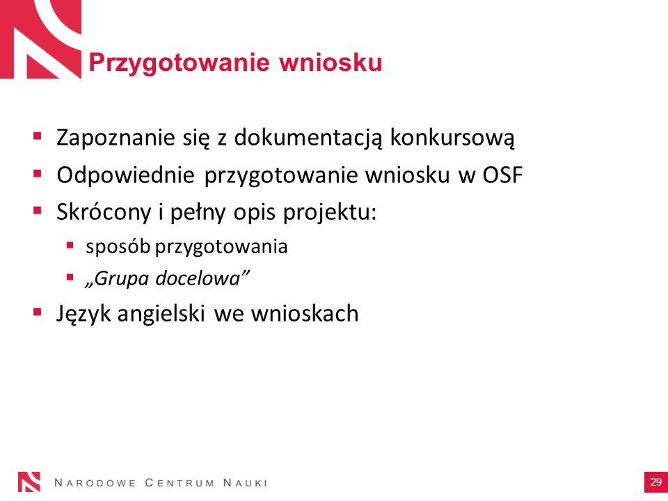 Przygotowanie wniosku Zapoznanie się z dokumentacją konkursową Odpowiednie przygotowanie wniosku w OSF Skrócony i pełny opis projektu: sposób przygoto