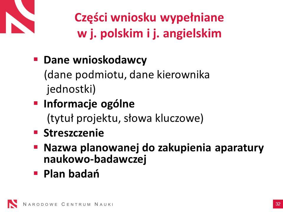 Części wniosku wypełniane w j. polskim i j. angielskim Dane wnioskodawcy (dane podmiotu, dane kierownika jednostki) Informacje ogólne (tytuł projektu,