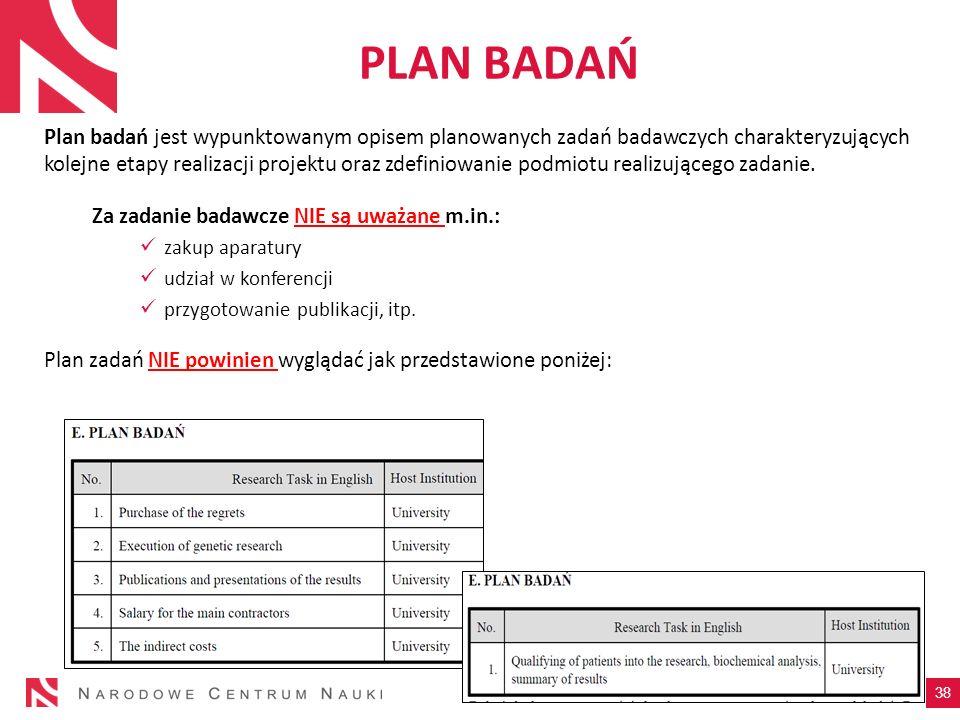 PLAN BADAŃ Plan badań jest wypunktowanym opisem planowanych zadań badawczych charakteryzujących kolejne etapy realizacji projektu oraz zdefiniowanie p