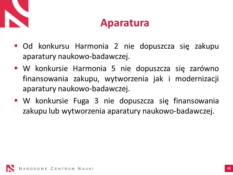 Aparatura Od konkursu Harmonia 2 nie dopuszcza się zakupu aparatury naukowo-badawczej. W konkursie Harmonia 5 nie dopuszcza się zarówno finansowania z