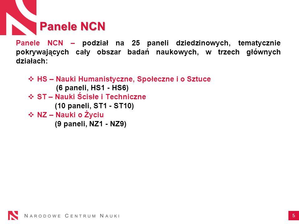 5 Panele NCN – podział na 25 paneli dziedzinowych, tematycznie pokrywających cały obszar badań naukowych, w trzech głównych działach: HS – Nauki Human
