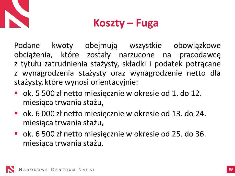 Koszty – Fuga Podane kwoty obejmują wszystkie obowiązkowe obciążenia, które zostały narzucone na pracodawcę z tytułu zatrudnienia stażysty, składki i