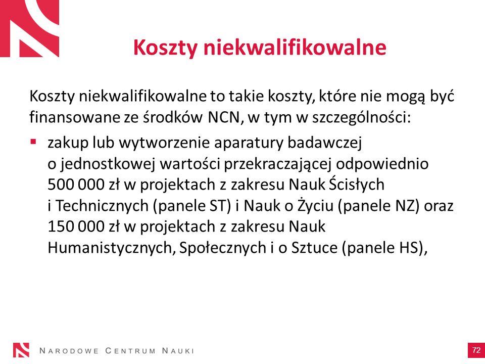 Koszty niekwalifikowalne Koszty niekwalifikowalne to takie koszty, które nie mogą być finansowane ze środków NCN, w tym w szczególności: zakup lub wyt