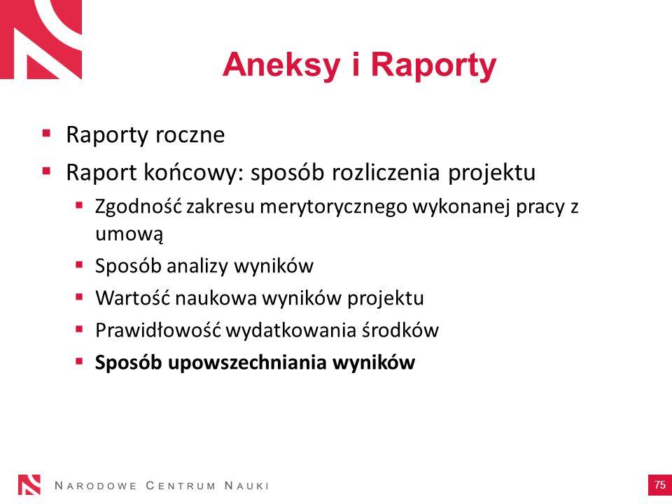 Aneksy i Raporty Raporty roczne Raport końcowy: sposób rozliczenia projektu Zgodność zakresu merytorycznego wykonanej pracy z umową Sposób analizy wyn