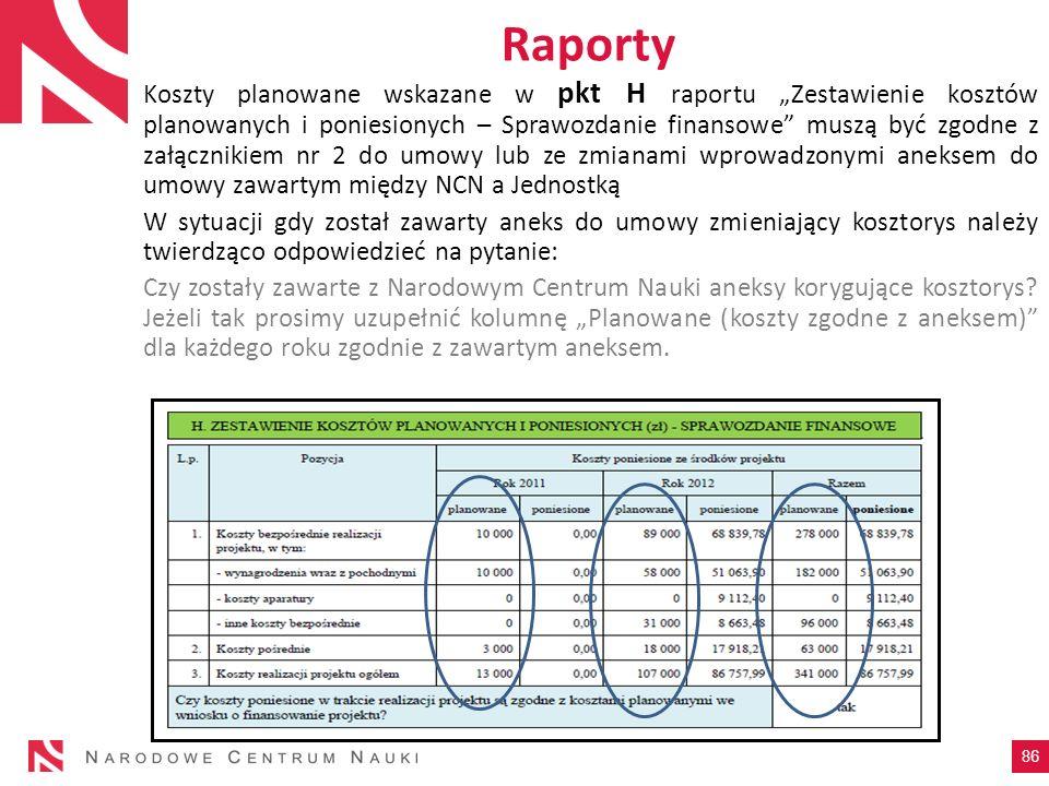 Raporty Koszty planowane wskazane w pkt H raportu Zestawienie kosztów planowanych i poniesionych – Sprawozdanie finansowe muszą być zgodne z załącznik